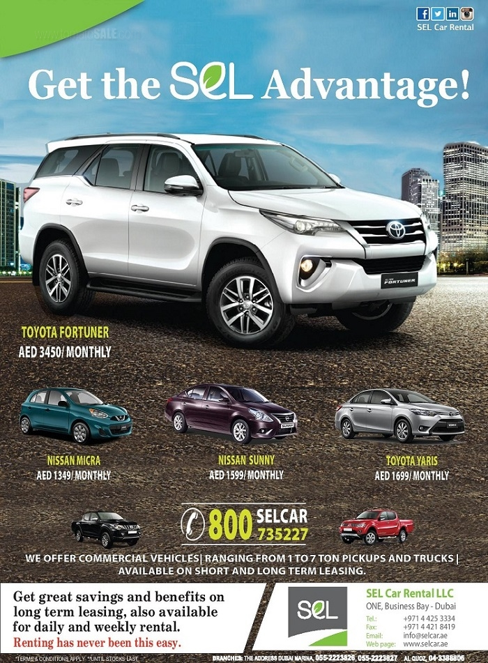 SEL Car Rental - Get the SEL Advantage! Get great savings and benefits on long term leasing, also available for daily and weekly rental.