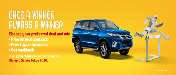 Toyota Winning Never Ends. Offer by Al Futtaim  Experience the amazing feeling of winning, all of this month. Buy Toyota today and choose 1 of 3 benefits:  Free service maintenance contract for 4 years or 80,000 KM Or free 1-year comprehensive insurance Or cashback. But the winning doesn't end there.  This offer is available on a range of Toyota vehicles such as:  Fortuner: Starting AED 1,400 Land Cruiser: Starting AED 2,400 Supra: Starting AED 2,700.  Terms & Conditions Apply.