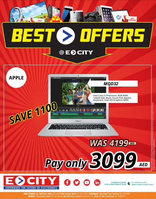 Ecity offers a range of discounts and deals across UAE as a part of special promotion! Grab your favorite deals by visiting your local, nearest Ecity store in Dubai, Abu Dhabi & Sharjah. This offer is valid till stock lasts!