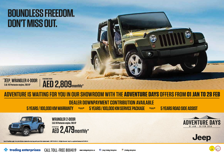 Jeep Wrangler Offer. Adventure Days. 01 Jan - 28 Feb 2018.