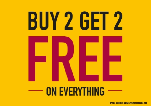 BUY 2, GET 2 FREE on ALMOST EVERYTHING at Babyshop! Enjoy this amazing offer on Babywear, Kids Fashion, Toys & much more. Hurry! T&C Apply. Expires on: 23 Jun 2018