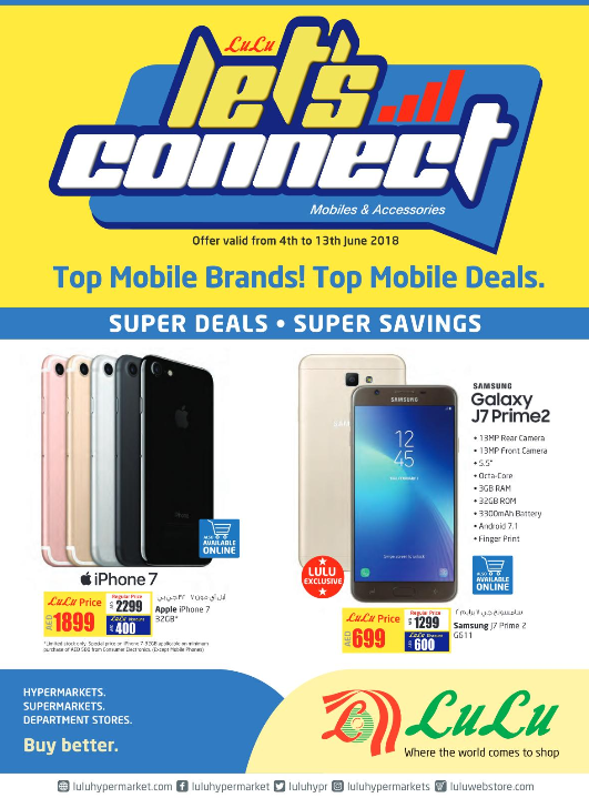 LuLu - Let's Connect. Top mobile brands! Top mobile deals. Offer valid from 4th to 13th June 2018.