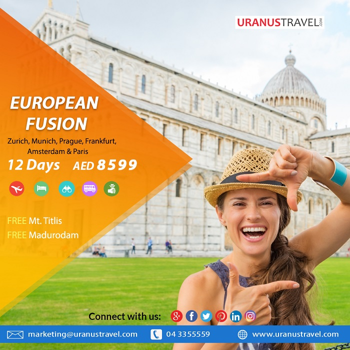 Uranus Travel & Tours - European Fusion. Package Includes: Flights, 4* Hotel, Tours, Transfers, Breakfast, Tour Guide & Taxes