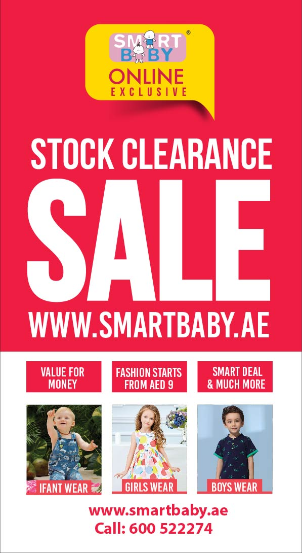 Smart Baby Online Exclusive. Stock Clearance Sale. Valid from 19th April to 26th April, 2018. Shop now @ www.smartbaby.ae