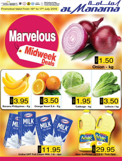 Al Manama Marvelous Midweek Deals. Promotion valid from 16th to 17th July 2018.