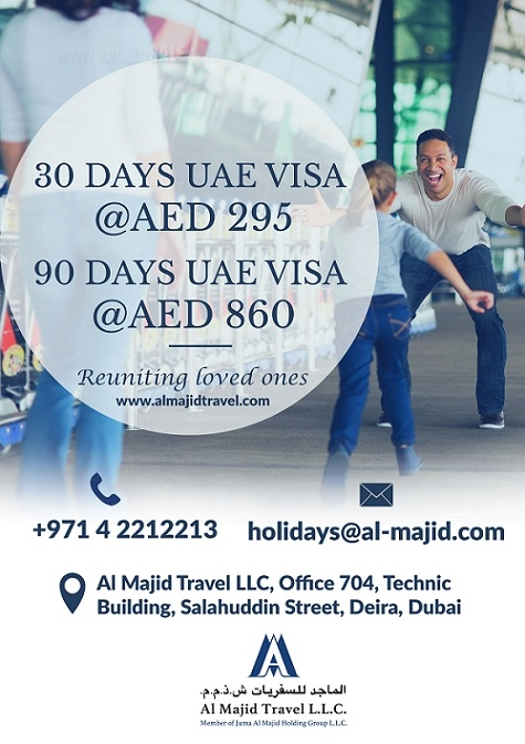 Al Majid Travel & Tourism - Reuniting loved ones. 30 days UAE Visa @ AED 295 and 90 days UAE Visa @ AED 860