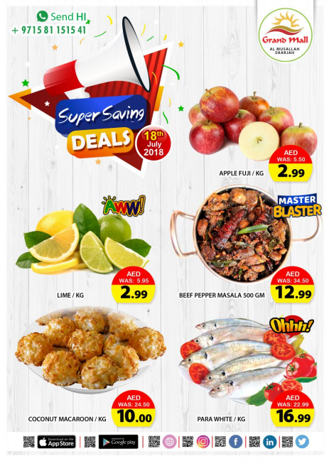 Super Saving Deals at Grand Mall Sharjah. Offer valid only on 18th July 2018.
