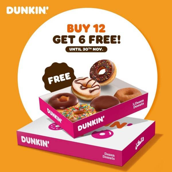 Black Friday OFFER. Buy any dozen donuts and get 6 free donuts. Offer valid from November 19th till November 30th @ Dunkin