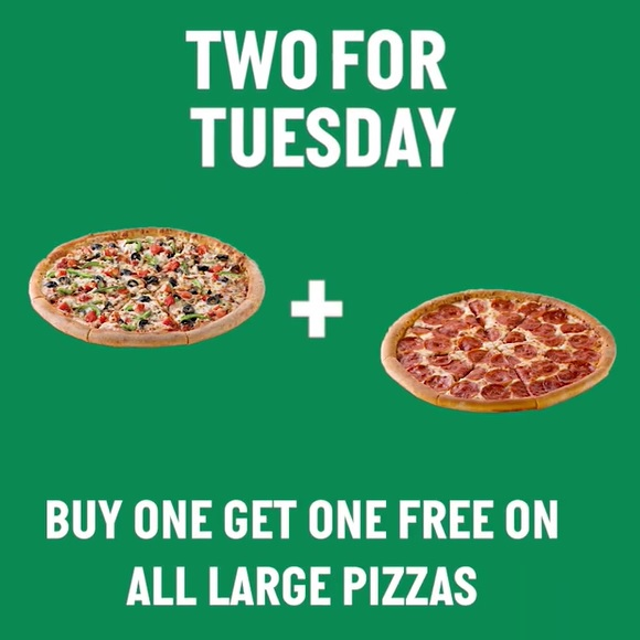 Papa John's Pizza - Double the flavours, double the fun, two pizzas are better than one! Buy 1 + Get 1 free on all large pizzas - every Tuesday! Available for dine-in, takeaway and delivery.