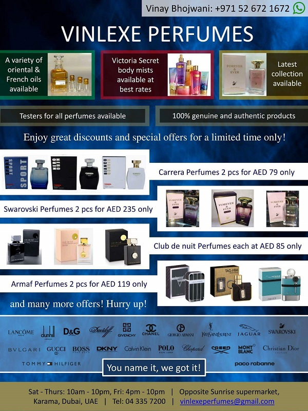 Vinlexe Perfumes - Avail Best Branded perfumes at competitive rates through the ongoing promotions on various brands