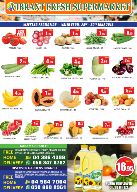 Vibrant Fresh Supermarket weekend promotion. Offer valid from 28th to 30th June 2018.