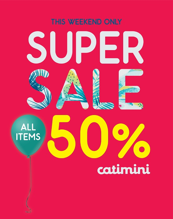 Catimini Super Sale. All items 50%. Offer is valid from 10th to 12th May, 2018 only.