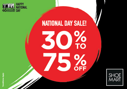 Shoe Mart - National Day Sale! 30% to 75% off. Huge savings on shoes, bags and other more accessories across UAE stores. *Conditions apply