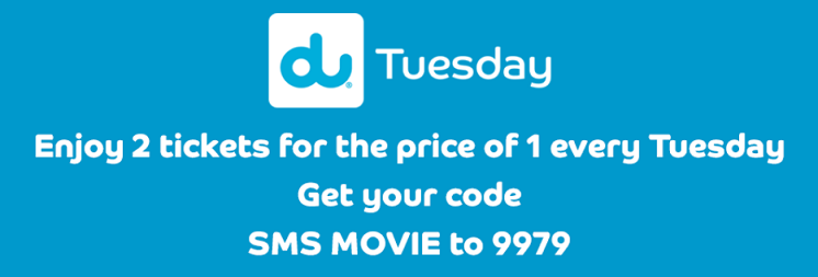 VOX Cinemas UAE - du Tuesday offer. Enjoy 2 tickets for the price of 1 every Tuesday. The du Tuesday offer is available exclusively to du mobile customers. The offer is valid until 31 December 2019.