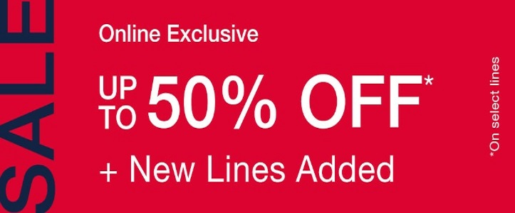 GAP Sale. Up to 50% Off on select lines.  Online exclusive offer.