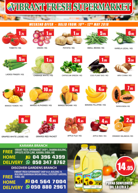 Vibrant Fresh Supermarket Weekend Offer. Valid from 10th - 12th May 2018