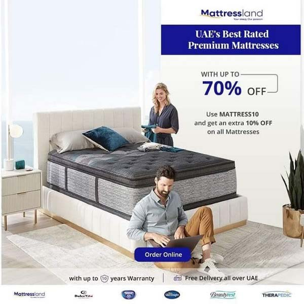 Buy Premium Mattresses from our Multi-brand collections with Up To 70% OFF @ Mattressland. Use code MATTRESS10 and Get an Extra 10% OFF on all mattresses. Get free delivery all over UAE.