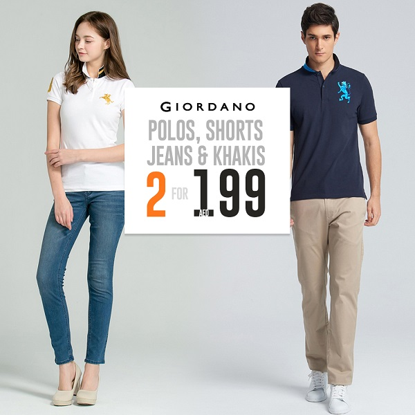 Giordano - Polos, Shorts, Jeans & Khakis. 2 for AED 199