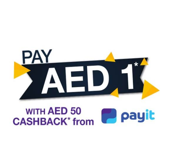 AED 1 deals are back! Use payit to shop at SharafDG.com and stores and get a cashback of AED 50.