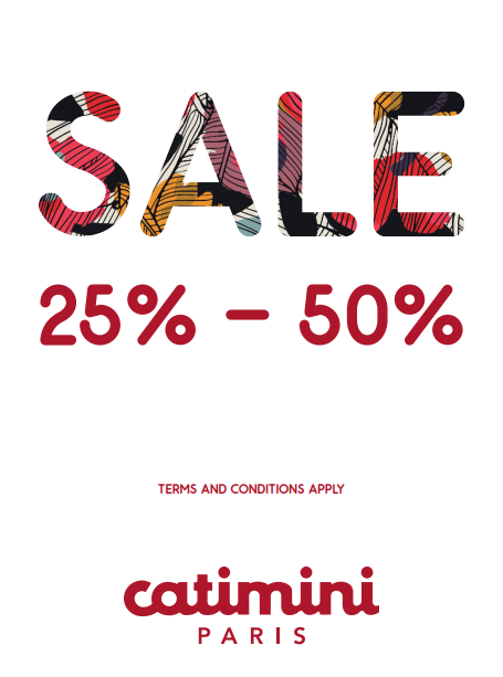 Catimini - SALE 25% to 50%. Promotion valid from: 22nd Jun – 4th Aug. Store location: The Dubai Mall – 2nd floor opp. aquarium