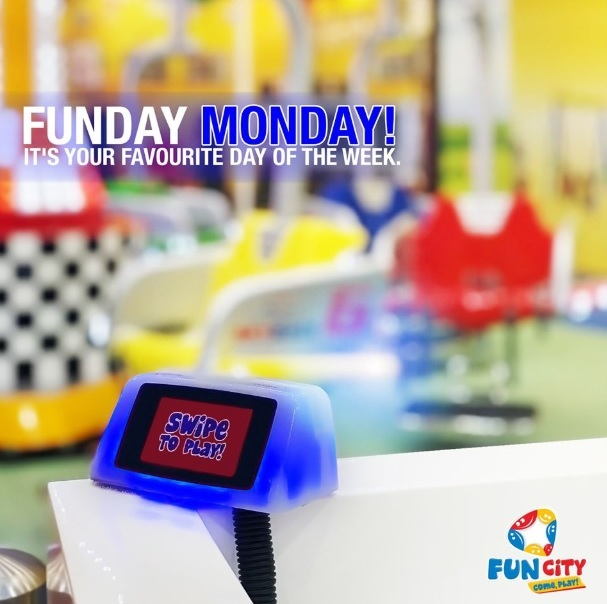 It's Funday Monday! All you have to do is have fun, fun, fun. Enjoy the blue swiper GAMES & RIDES for just  AED 1 @ Fun City