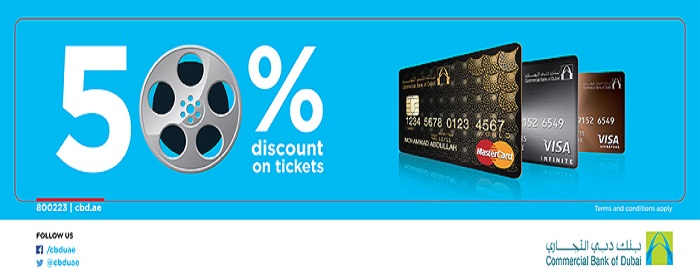 CBD CREDIT CARD-50% OFF.  Enjoy 50% off on your tickets when you use your CBD Credit Card.
