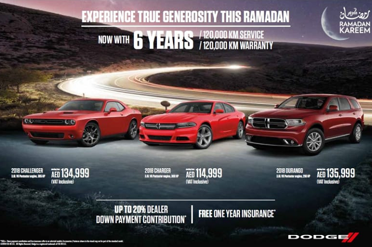 Dodge - EXPERIENCE TRUE GENEROSITY THIS RAMADAN. With 6 YEARS / 120,000 KMS FREE Service and Warranty. Free one-year INSURANCE on selected models*. Up to 20% Dealer down payment contribution*. *T&C apply. Offer valid until 30th June 2018 only.