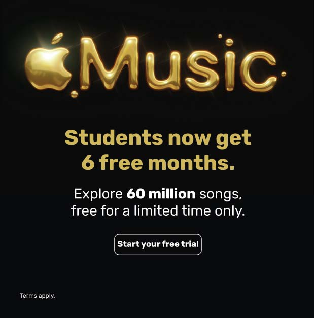 Apple Music is now free for 6 months. Just for students. Explore 60 million songs, free for a limited time only. Valid until October 31, 2020 @ iStyle