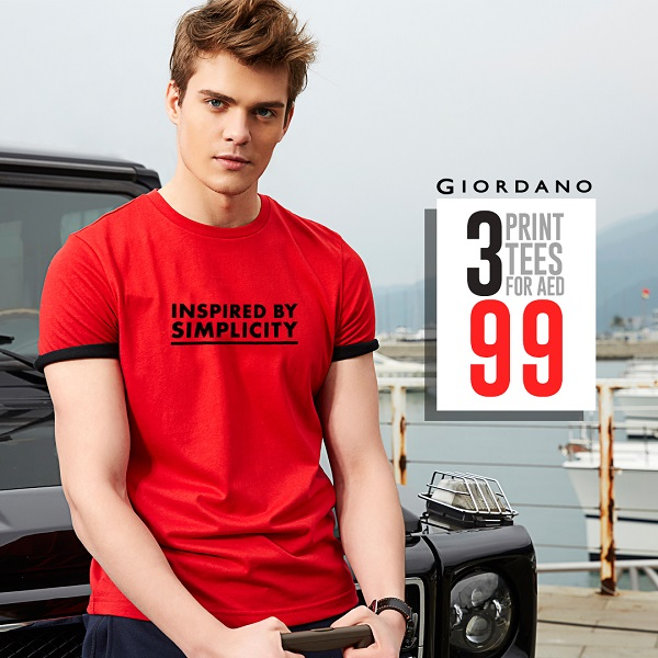Giordano - Limited Time Offer. 3 Print Tees for AED 99