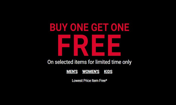 BUY 1, GET 1 FREE  on Selected Items for limited time Only @ Foot Locker
