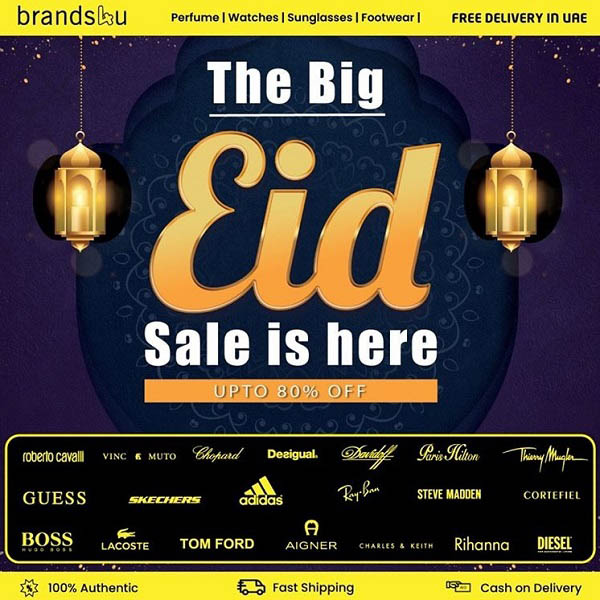 The Big Eid Sale @ Brands4u.com with free delivery for all. Upto 80% off and more than 300 brands to offer, enjoy Eid with Brands4u. Visit Brands4u.com and begin your Eid shopping! The Eid Sale ends on the 25th of May 2020.