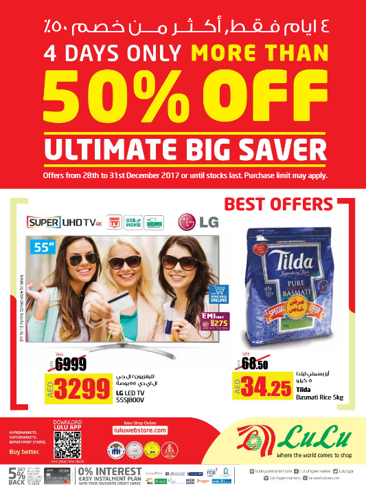 LuLu - More than 50% Off. Ultimate Big Saver. 4 Days only. Offers from 28th to 31st December 2017 or until stocks last.
