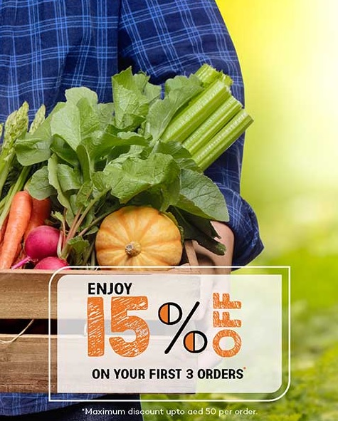 Enjoy 15% Off on your First 3 orders @ Barakat Fresh