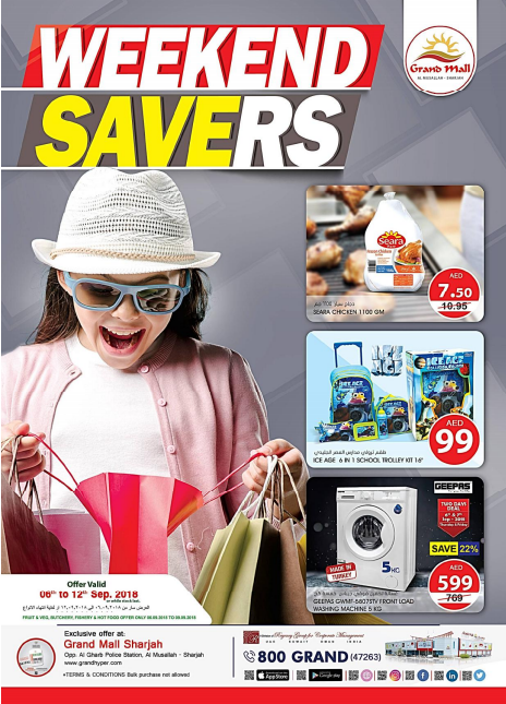 Weekend Offers at Grand Mall Sharjah.  Offer valid 6th to 12th September 2018 or while stock last.