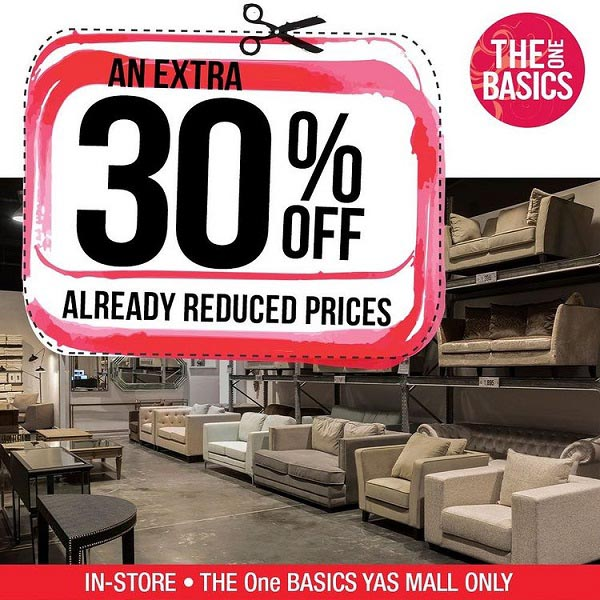 EXTRA 30% Off Everything. SALE available at THE One BASICS, Yas Mall, In-Store only