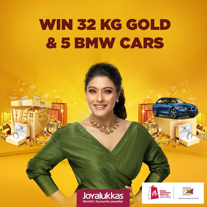 "1 KG GOLD EVERYDAY : 4 winners of 1/4 kg Gold everyday until 26th Jan 2019.  6 Samsung 65"" UHD 4K Smart Tvs & 6 gold bars (100 grams) to be won. Daily draws: 27th January - 01st February, 2019. 1 kg Gold mega prize to be won on 2nd Feb 2019. Buy Gold jewellery worth AED 500 & get 1 raffle coupon to win Gold prizes.  5 BMW LUXURY CARS. Weekly draw dates: Jan 5, 12, 19, 26 & 2nd Feb 2019. Buy Diamond jewellery worth AED 500 & get 1 raffle coupon to win BMW cars.  *Conditions apply. Offer valid from 26 December - 02 February to all Dubai Gold and Jewellery participating outlets"