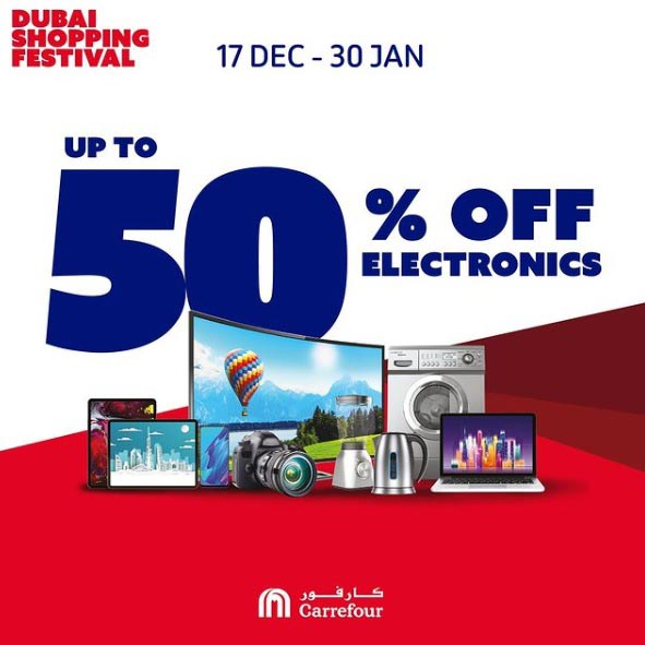 Enjoy up to 50% off on electronics this Dubai Shopping Festival when you shop online or at any Carrefour Hypermarket until the 30th of January.