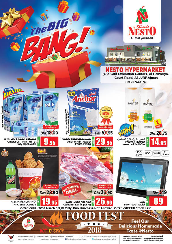 Weekend Grabs. From 2018 Mar 8 to Mar 10. Offer available at Nesto Hypermarket, Al Jurf, Ajman