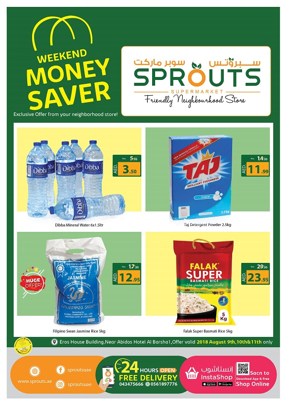 Sprouts Supermarket - Weekend Money Saver. Offer valid 2018 August 9th, 10th, 11th only.