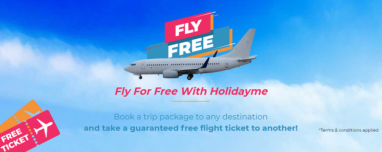 Fly for free with HolidayMe. Book a trip package to any destination and take a guaranteed free flight ticket to another!  T&C apply.