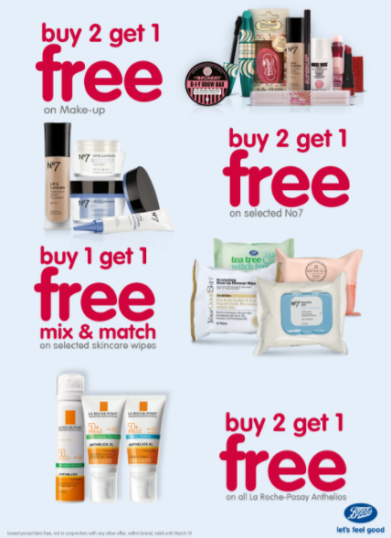 Boots Pharmacy promotions. Valid until March 19th.