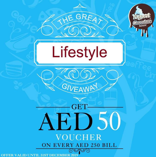 The Yogurt & Chocolate House is giving away gift vouchers worth AED 50 on every spend of AED 250.