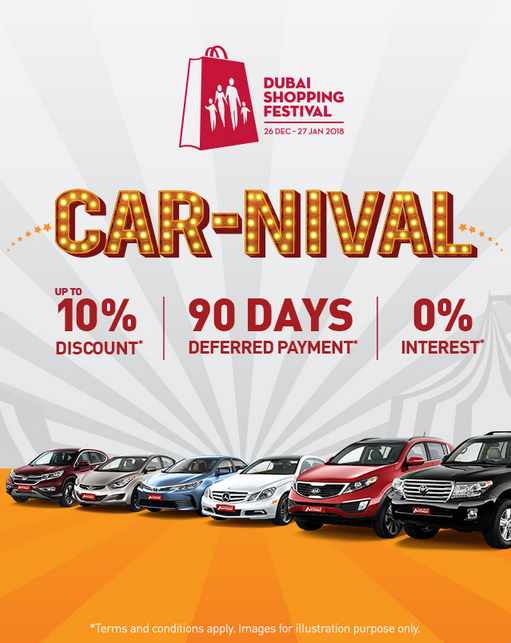 Celebrate at the CAR-NIVAL this Dubai Shopping Festival! Amazing deals on all our certified pre-owned vehicles only at AUTOTRUST