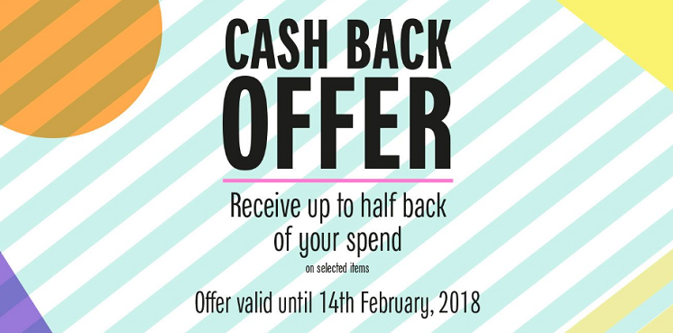 Galeries Lafayette Dubai - Cash Back Offer. Receive up to half back of your spend on selected items. Offer valid until 14th February, 2018.