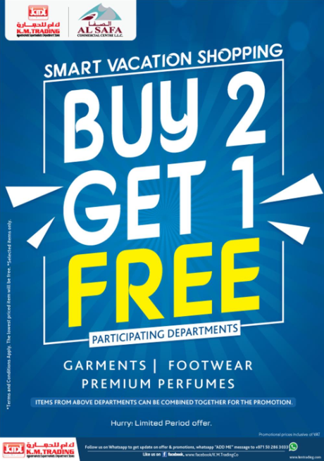 K.M. Trading - Buy 2 Get 1 Free. Promotion valid from 4th April to 3rd May 2019.