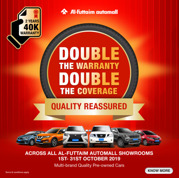 DOUBLE THE BENEFITS FROM AUTOMALL. ENJOY 2 YEARS / 40,000 KM CAR WARRANTY WITH AUTOMALL.