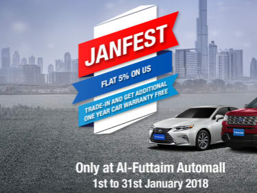 Al-Futtaim Automall -  AUTOMALL JANFEST. FLAT 5% OFF ON SELECTED CARS. TRADE-IN & GET ADDITIONAL ONE YEAR CAR WARRANTY FREE.