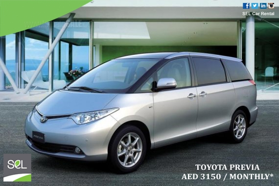 SEL Car Rental - Special Offers: Toyota Previa AED 3150 / Monthly. *T&C Apply, for more details please call on 800735227