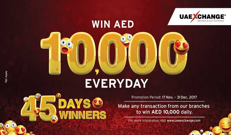 UAE Exchange - Winter Promotion 2017. Win AED 10,000 Everyday.  Promotion Period : 17th Nov - 31st Dec 2017. T&C apply