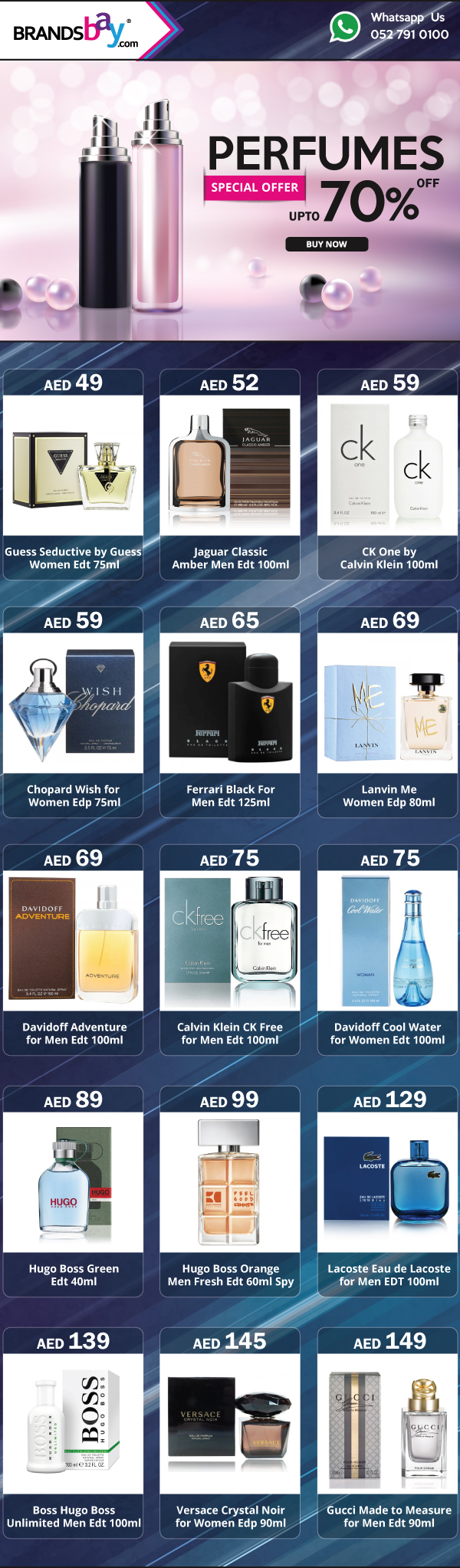 Special Offer!! Get up to 70% off on Branded Perfumes Only at Brandsbay.com